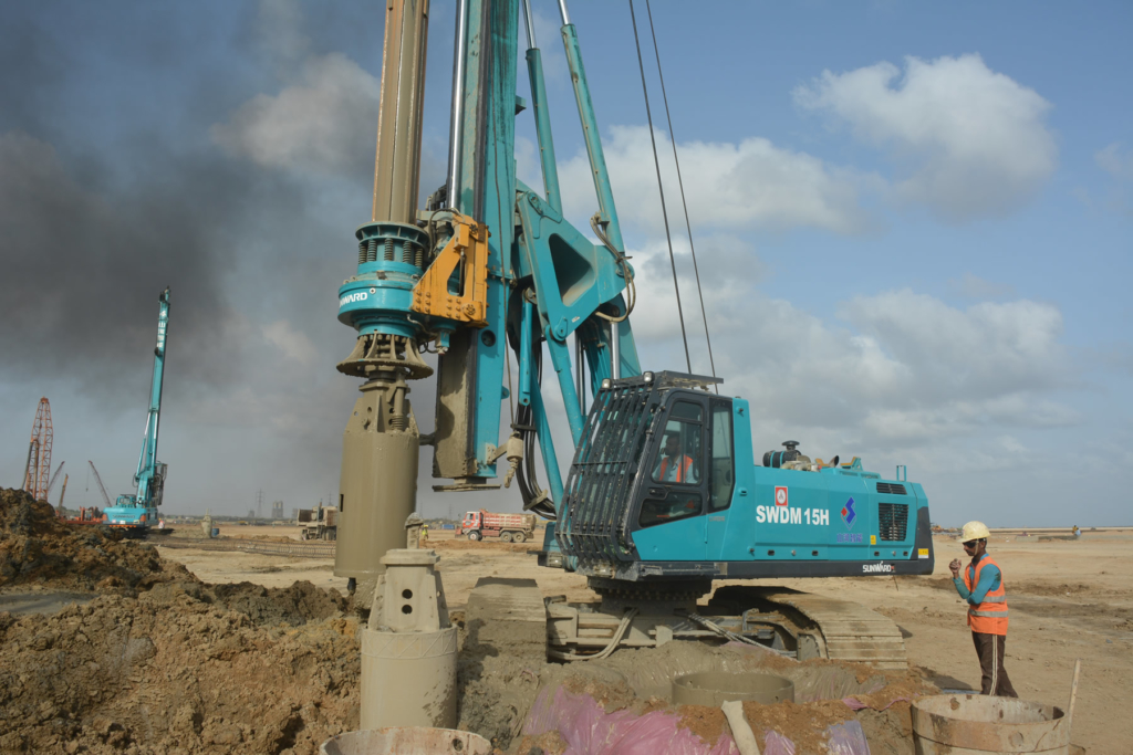 Drilling of 1 meter diameter piles with Hydraulic Rotary drilling Machine 2x660 MW Coal Fired Power Plant at Port Qasim Karachi