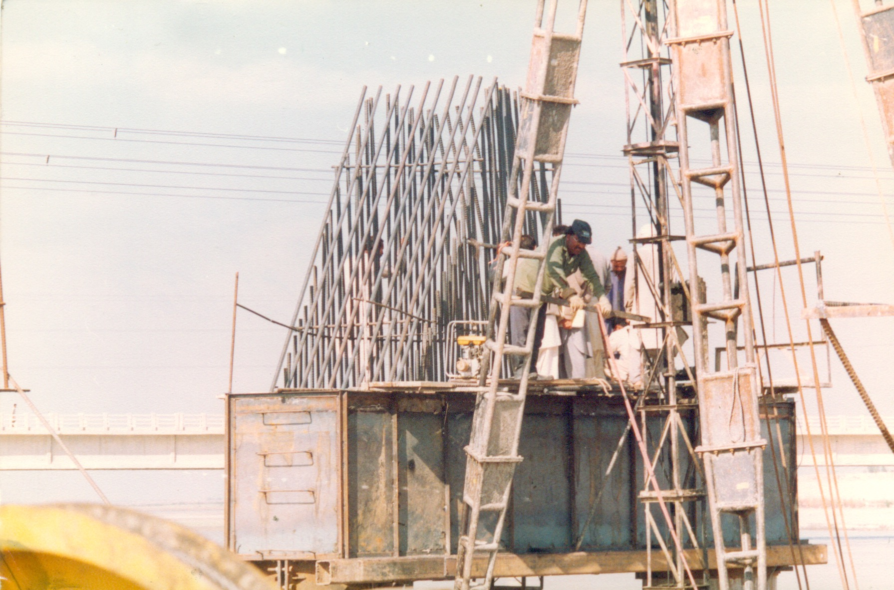 Construction of beams and caps for 500 KvA Transmission Line Tower in River Indus at Ghazi Ghat