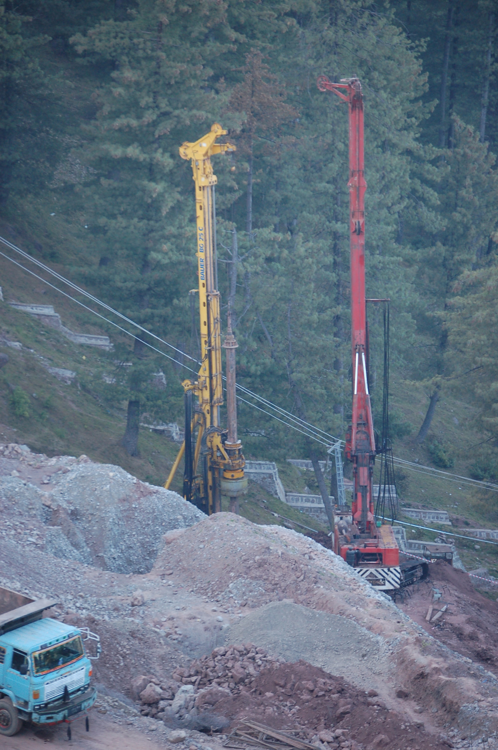 Piling using Hydraulic Rotary Machines for Slope Protection Works at Jhika Gali, Murree