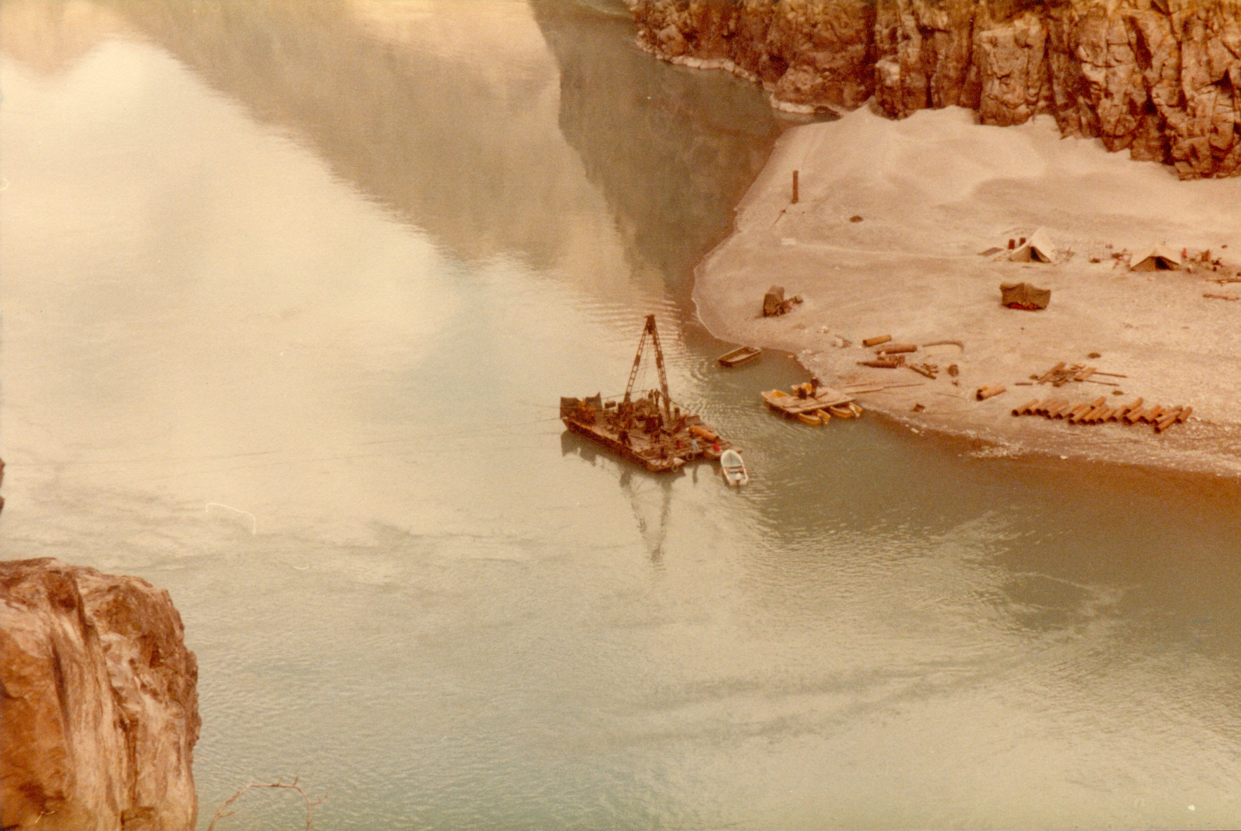 Offshore Drilling on Indus river at Bhasha Dam 1984